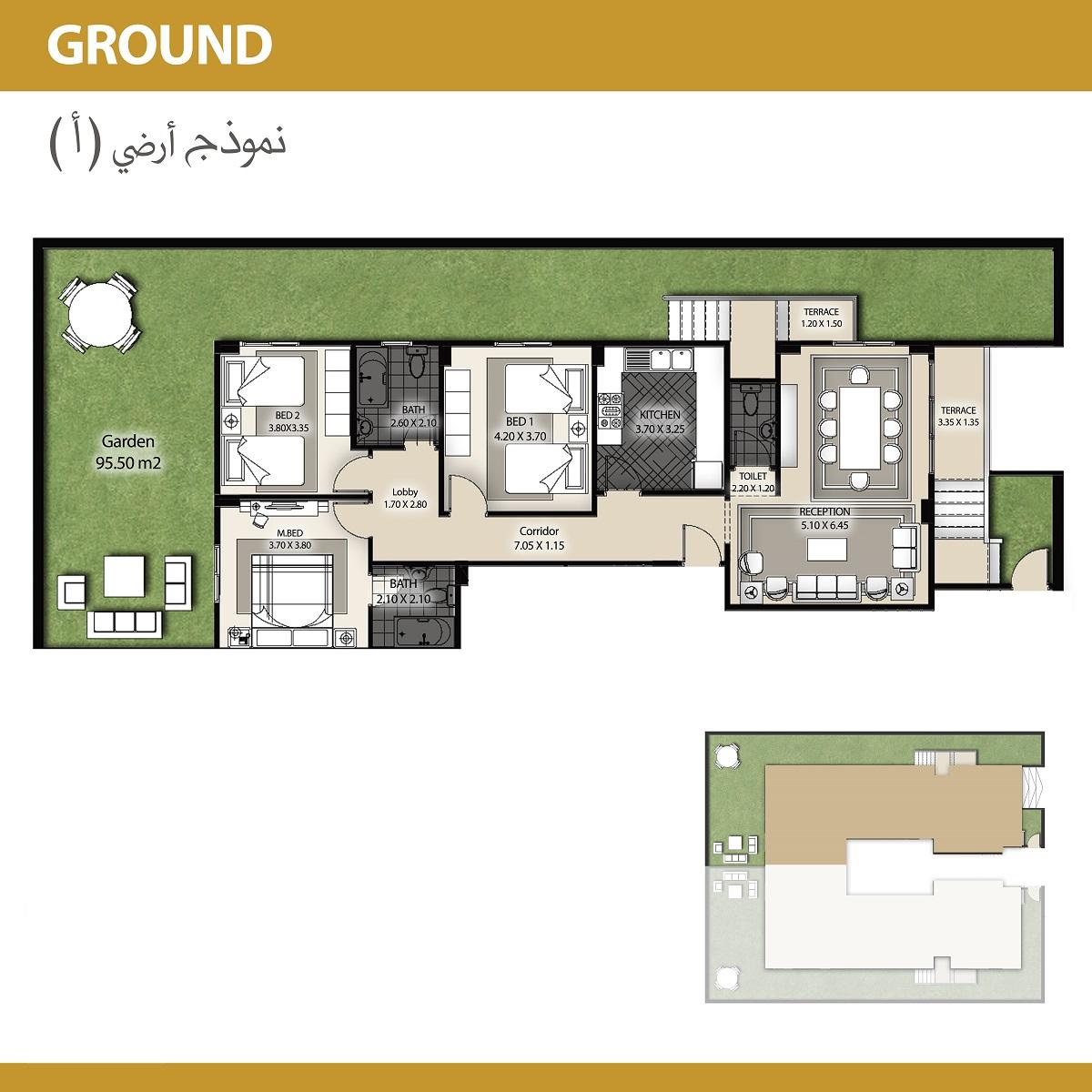نموذج أرضي 155م+ حديقة